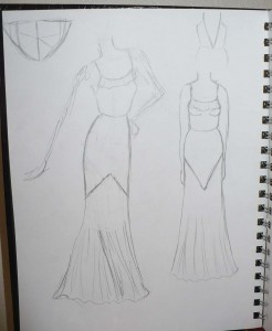 Sketch for 1930s Evening Gown