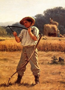 Eastman Johnson (American painter, 1824-1906) Man With a Scythe 1868